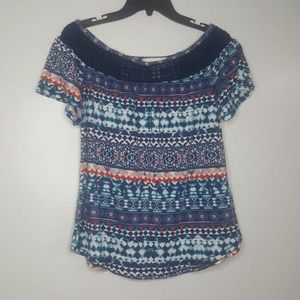S French Laundry Lace Tribal Tee Striped Top D